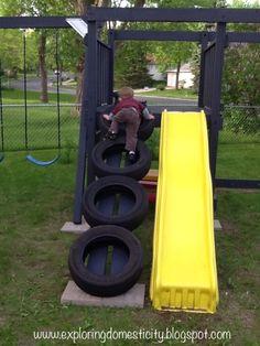 Exploring Domesticity: Swing Set Tire Ladder