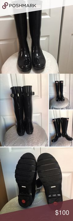 "Original High Gloss Boot (Women) 1"" heel  16"" boot shaft; 15"" - 18"" calf circumference; adjusts to fit wide calf. In hot or humid weather, natural latex rubber releases a protective wax film; simply wipe it off with a damp cloth. A pristine finish and shine is easily restored with regular use of Hunter Boot Buffer or Instant Boot Shine. Rubber upper/textile lining/rubber sole. By Hunter; imported. Women's Sho💕. ❤️ look at the size In the last picture,please 👍🏼 Hunter Boots Shoes Ankle…"