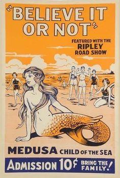 Vintage mermaid medusa Ripley Believe it or Not admission ticket Vintage Mermaid, Mermaid Art, Mermaid Poster, Mermaid Paintings, Mermaid Prints, Mermaid Quotes, Mermaid Cove, Tattoo Mermaid, Mermaid Drawings