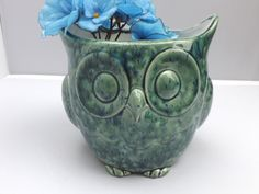 X-Large Ceramic Owl Planter Green and Blue - pinned by pin4etsy.com