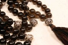 Smokey Quartz and Sterling Silver Mala Necklace Buddhist Prayer Beads Rosary