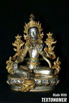 Miniatur Grüne Tara Statue in SILBER ALTE tibet