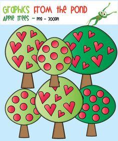 Apple Trees - Color & Line Art Clip Art for Teaching & Teachers  Je kan de figuren gebruiken om werkbladen /spelletjes / kaarten op te leuken