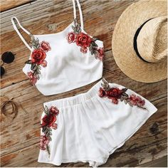 Cheap two set, Buy Quality top shorts directly from China women set short Suppliers: Summer Women's Short Jumpsuit Sexy Embroidery Spaghetti Strap Beach Set For Two Pieces Ensemble Femme Crop tops Shorts Tracksuit Mode Outfits, Casual Outfits, Fashion Outfits, Womens Fashion, Fashion Shorts, Tween Fashion, Style Fashion, Fashion Ideas, Fasion