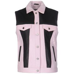 Fap  Filles A Papa Jacket (3.505 RON) ❤ liked on Polyvore featuring outerwear, jackets, pink, pink jacket, real leather jackets, 100 leather jacket, no sleeve jacket and pink leather jacket