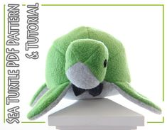 plush toy sewing PATTERN and TUTORIAL, fleece sea turtle, easy stuffed turtle instructions on Etsy, $6.00