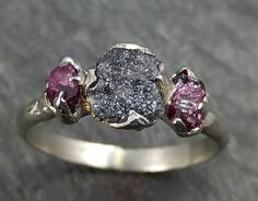 Raw Rough Black Diamond Ruby Multi Stone Ring 14k White Gold red Gemstone Engagement birthstone Ring byAngeline 0447