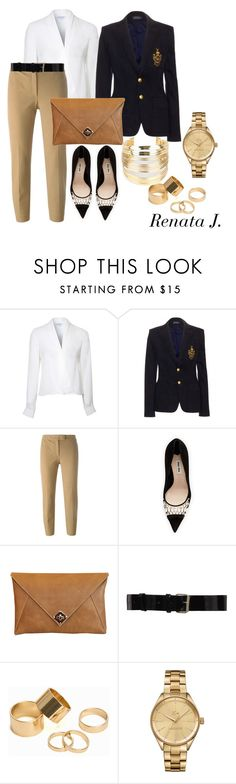 """Beige, black and marine"" by renata-jim ❤ liked on Polyvore featuring Lipsy, Polo Ralph Lauren, Joseph, Miu Miu, The Code, Bouchra Jarrar, Pieces, Lacoste and WithChic"