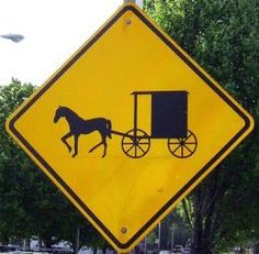 Amish horse crossing sign