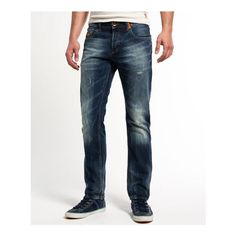 Superdry Officer Jeans ($50) ❤ liked on Polyvore featuring men's fashion, men's clothing, men's jeans, light blue, mens patched jeans, mens button fly jeans, mens jeans, mens light blue jeans and mens vintage jeans