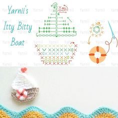 crochet appliquet hook and more boats crochet boat appliques graphic . Appliques Au Crochet, Crochet Applique Patterns Free, Crochet Diagram, Amigurumi Patterns, Crochet Motif, Crochet Designs, Crochet Stitches, Free Pattern, Crochet Boat