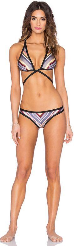 Zimmermann Ticking Wrap Bikini Set