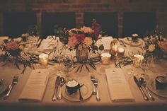 Cloudy Winter Brix wedding in British Columbia - Long table floral centrepiece inspiration
