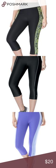 """New Active Wear Sports Gym Yoga Workout capri Look and feel comfortable with our cropped-length plus size capris by fullbeauty SPORT®. You'll love the way the super-stretch fabric moves as you do. Pair with a tunic for the perfect gym look. super stretch fit moves as you do 18"""" inseam reaches just below the knee full elastic waist tagless comfort soft, washable polyester/spandex ultra-stretchable and moisture wicking imported   Women's plus size active fitness and athleisure fashion capri…"""