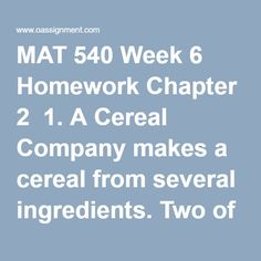 mat 540 week 6 homework Mat 540 week 10 homework chapter 6   1 consider the following transportation problem: from to.