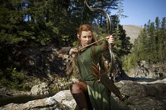 "Evangeline Lilly as elf warrior Tauriel in ""The Hobbit: The Desolation of Smaug."" the Tolkien purist in me is cringing. Tauriel, Legolas, Thranduil, Gandalf, Kili, Hobbit Desolation Of Smaug, Hobbit Films, Evangeline Lilly, Movies"