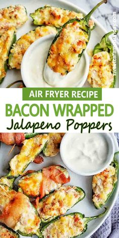 Air Fryer Bacon Wrapped Jalapeno Poppers are a quick and easy appetizer! This simple recipe involved preparing the jalapenos, stuffing them and roasting in the Air Fryer. #easyrecipe #airfryerrecipes #appetizers @sweetcaramelsunday Sunday Recipes, Lunch Recipes, Healthy Recipes, Delicious Recipes, Easy Recipes, Tasty, Quick And Easy Appetizers, Yummy Appetizers, Appetizer Recipes