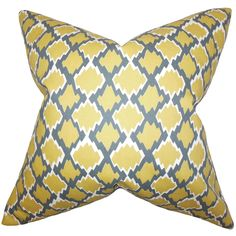 Filled with feather and down, this throw pillow is comfortable and retains its plush feel. This square-shaped pillow has a yellow-and-gray geometric pattern that adds a modern touch to your decor.