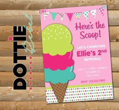 Here's the Scoop Ice Cream Birthday by DottieRebelDesigns on Etsy
