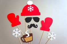Winter Photo Booth Props - 8 piece set - GLITTER Photobooth Props - Mittens, Hat, Snow - Red. $22.00, via Etsy.