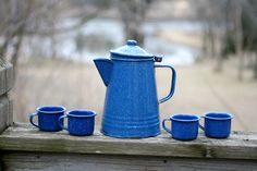 Vintage Blue Specled Enamalware Pitcher and Cups, Set of 5. by AbateArts on Etsy