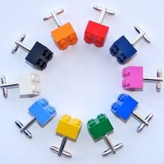 LEGO Cufflinks, LEGO Page Boy, LEGO Bricks, lego Brother, lego Dad - 15 Funky Colours, Grooms Cufflinks, Groomsmen Cufflinks