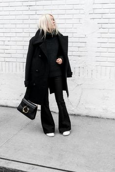 What to style with your white sneakers  peacoat, flares, flared pants, flared jeans, white sneakers, how to style your flared jeans with sneakers, chunky sweater, how to style my chunky sweater
