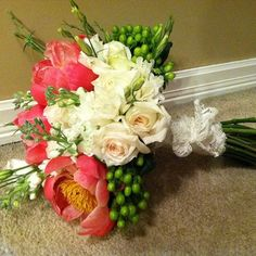 Coral charm peonies White roses Green hypericum  coral and white bridal bouquet