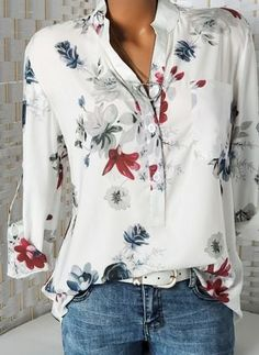 e2043377908676 Floral Casual V-Neckline Long Sleeve Blouses - Floryday. Womens Fashion  Online 2019