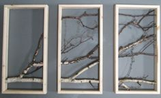 Birch Branch Triptych Wall Hanging by MadeAtTheLake on Etsy