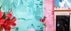 Flying Castle wallpapers - hand screen printed by reddot.printstudio / pattern design by justynamedon www.justynamedon.com