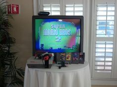 Vintage Nintendo Game On Television For Custom 30th Birthday Party By San Diego Events Company