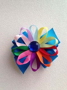 M2M daisies Girl Scout uniform bow with loop by LillyBeanBowtique
