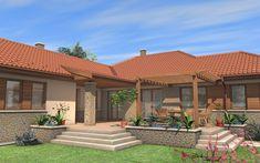 Egyszintes családi ház 178 m2 | Családiházam.hu House Front, My House, Super Hotel, Outdoor Spaces, Outdoor Decor, Cabin Homes, House Plans, New Homes, Farmhouse