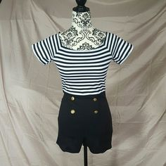 """Just In Striped Sailor Pinup Romper Adorable striped pinup romper. Adorned with gold buttons. Adorable pinup style romper! Very stretchy cotton.  ??Measurements (laying flat, unstretched) Bust-14"""" Waist-13.5"""" Hips-15"""" Boutique Dresses Mini"""