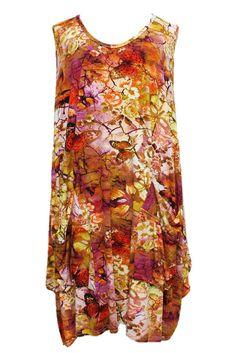 AKH Fashion Lagenlook Sommer Tunika Kleid in rot XL Mode bei www.modeolymp.lafeo.de