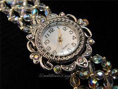 {Vintage Swarovski Aurora Borealis AB Crystal Lace Silver Water Bracelet}