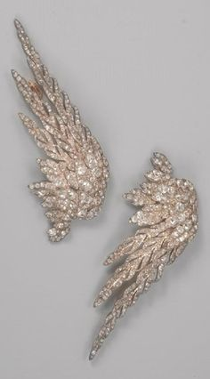 A pair of Belle Epoque gold, silver and diamond 'Wings' jewels, late 19th century. BelleÉpoque #jewel