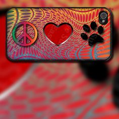 Peace Love Paw Design on iPhone 4 / 4s / 5 / 5s / 5c / 6 Rubber Silicone Case by EastCoastDyeSub on Etsy https://www.etsy.com/listing/121549968/peace-love-paw-design-on-iphone-4-4s-5