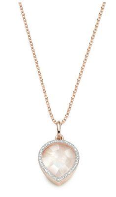 Monica vinader collier en vermeil, avec diamants et une pierre de lune