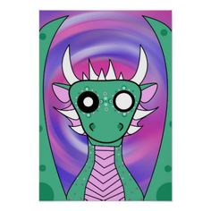 Demonimals Baby Green Dragon Poster Design   Baby Gifts Child New Born Gift  Idea Diy Cyo