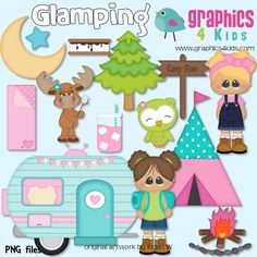 Glamping Glamorous Camping Girl Digital Clipart - Clip art for scrapbooking, party invitations - Instant Download Clipart Commercial Use by Graphics4kids on Etsy