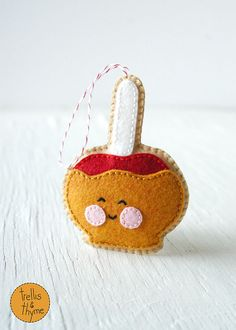 PDF Pattern - Caramel Apple, Halloween, Thanksgiving, Kawaii Felt Ornament Pattern, Softie Pattern