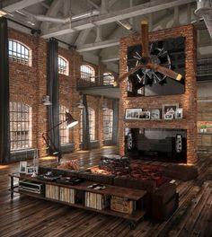 Une mise en scène particulière pour ce loft de grande hauteur ! http://www.edifit.fr #loft #industriel #atelier #déco #brique #pierre #métal #design #Newyork #Newyorkais #LoftIndustriel #loftAtelier #LoftDéco #LoftDesign