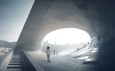 With the design of the Busan Opera, the opera is no longer a passive playground for the elite but becomes interactive, democratic space, responding to the. Water Architecture, Architecture Visualization, 3d Visualization, Concept Architecture, Amazing Architecture, In China, Cgi, Norway Design, Modern Architects