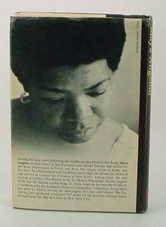 A beautiful Maya Angelou on the back cover of I Know Why The Caged Bird Sings, 1969