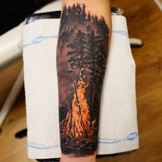 fireplace forest tattoo