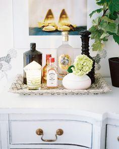 Bar Tray Photo - Bar essentials on a snakeskin-print tray