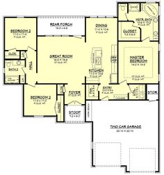 European Style House Plan - 3 Beds 2 Baths 1600 Sq/Ft Plan #430-66 Floor Plan - Main Floor Plan - Houseplans.com