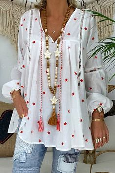 V-Neck Star Print Nine Points Sleeve Mid-Length Blouse Look Boho, Boho Style, Star Print, Casual T Shirts, Types Of Sleeves, Blouses For Women, Long Sleeve Shirts, Womens Fashion, Style Fashion